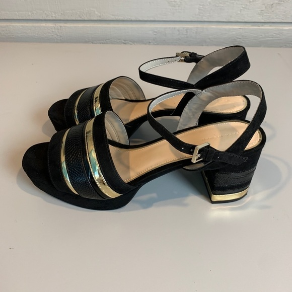Zara Woman Black and Gold Block Heel Sandal